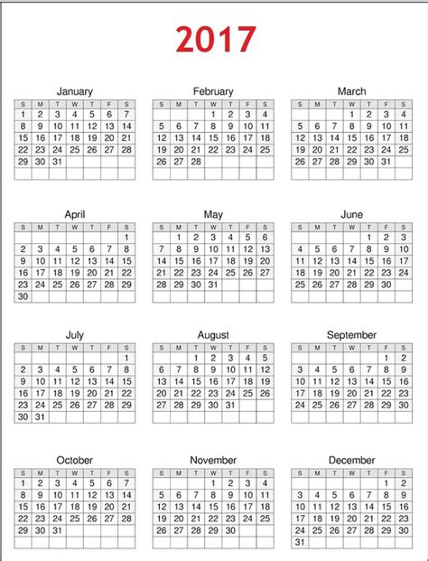 free printable 2017 calendar on one page 2017 calendar printable one page calendar 2017