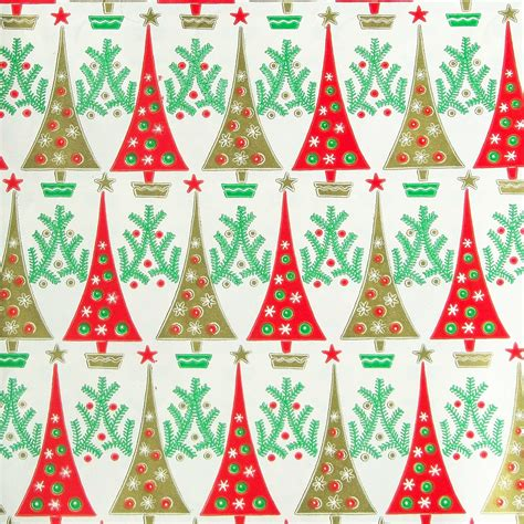 vintage 1960s christmas wrapping paper trees red green gold