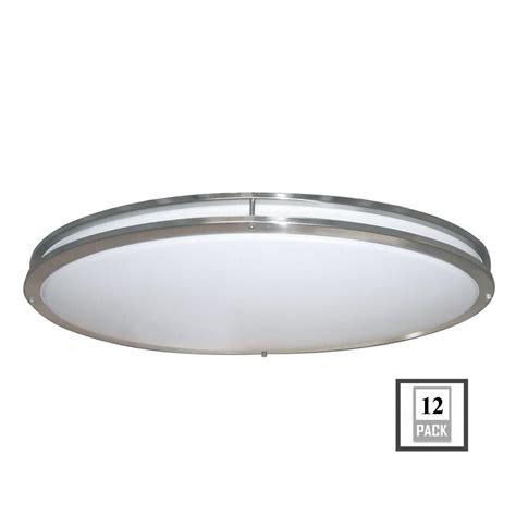 Low Profile Ceiling Light Led Envirolite Low Profile Led 32 In Brushed Nickel White Ceiling Flushmount 12 Pack Ev1432led