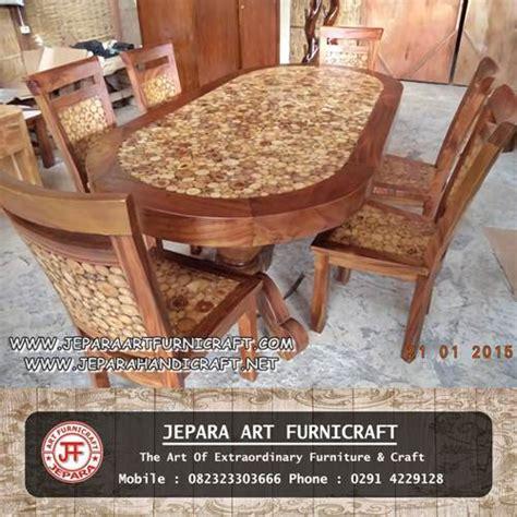 Kursi Meja Makan Koin Kayu Trembesi Solid jual meja makan minimalis oval 6 kursi koin antik murah