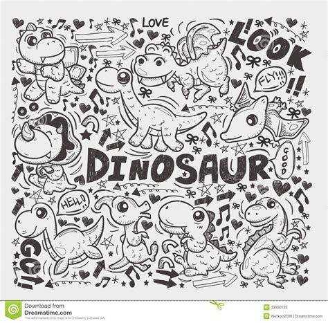how to use you doodle doodle dinosaur element stock vector illustration of