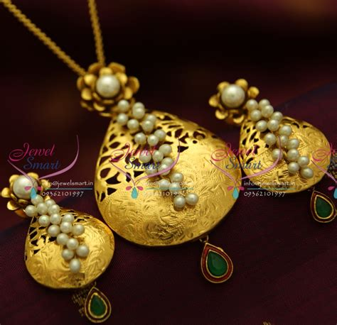 Handmade Gold Jewellery Designs - ps1832 exclusive antique gold design handmade real pearl