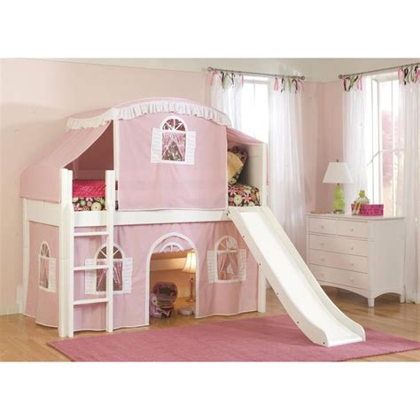 playhouse loft bed twin size playhouse tent loft bed with slide and ladder