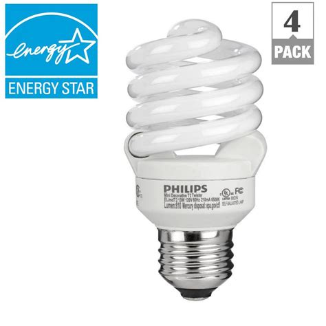 Lu Philips Spiral 32 Watt philips 60w equivalent daylight 6500k t2 spiral cfl light bulb e 4 pack 434399 the home