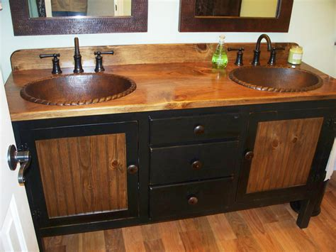 Rustic Farmhouse Vanity Double Bathroom Vanity Bathroom Vanity With Copper Sink