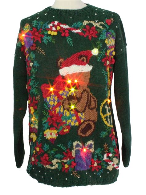 bear riffic light up ugly christmas sweater honors