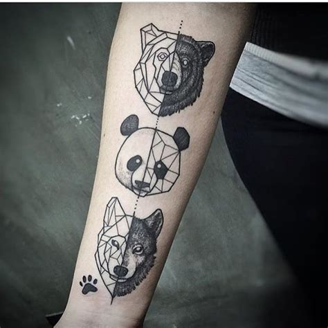 geometric tattoo geometric tattoos animals panda bear