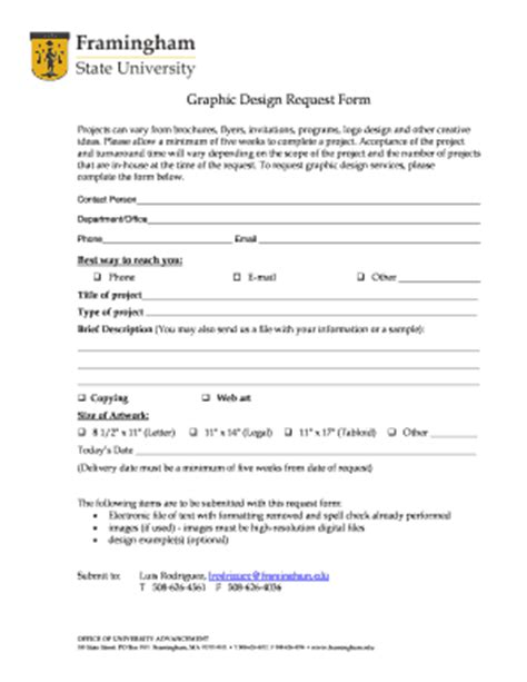 fillable online framingham graphic design request form