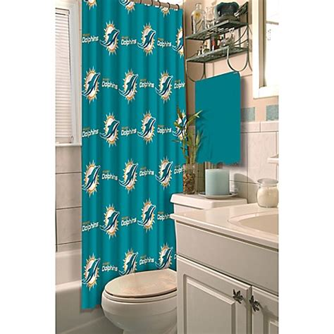 Miami Dolphins Bathroom Accessories Nfl Miami Dolphins Shower Curtain Bed Bath Beyond