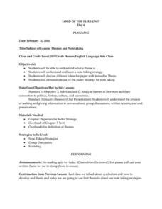 lord of the flies themes lesson plans lord of the flies symbolism lesson plans worksheets