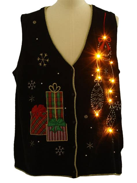 lightup ugly christmas sweater vest pinecone unisex