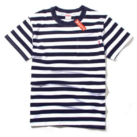 Tshirt Supreme Navy supreme stripe t shirt blue white