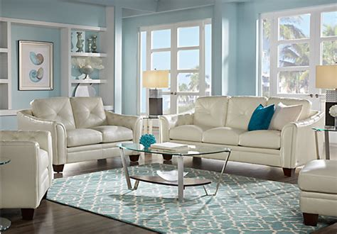 cindy crawford home marcella ivory leather  pc living