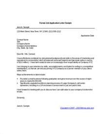 formal cover letter for application letter application sle application letter