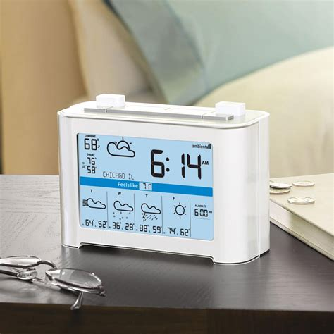 weathercast wireless weather forecaster alarm clock the green