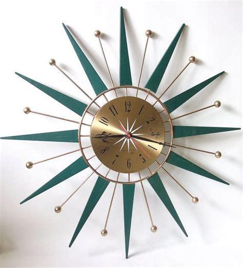love these cool wall clocks plushemisphere retro sunburst starburst teak wood westclox wall clock