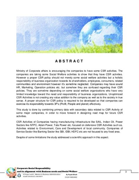 Social Welfare And Mba by Corporate Social Responsibility And Its Alignment With