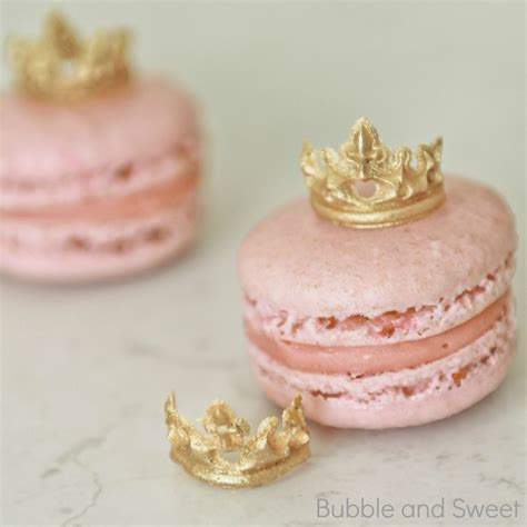 Sweet Macaroon Pink edible gold tiara for pink princess macarons and
