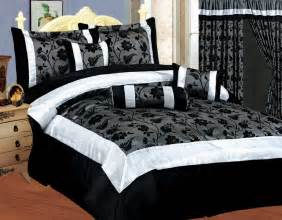 Cream King Size Duvet Cover Set New Bedding Black White Silver Gray Satin Comforter Se