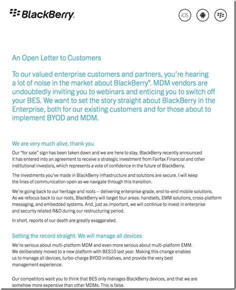 Blackberry Developer Cover Letter by Blackberry Ceo Writes Open Letter To All Enterprise Customers Letter Berryreview