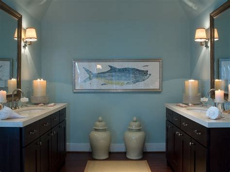 bahtroom pastel wall paint for nautical bathroom decor ideas with fish picture above porcelain
