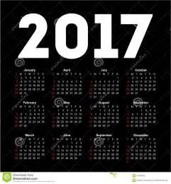 Calendã Lunar Janeiro 2017 Calendar For 2017 On Black Background Stock Vector