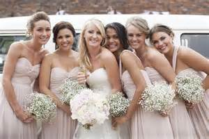 blush bridesmaid dresses baby s breath bouquets deer pearl flowers