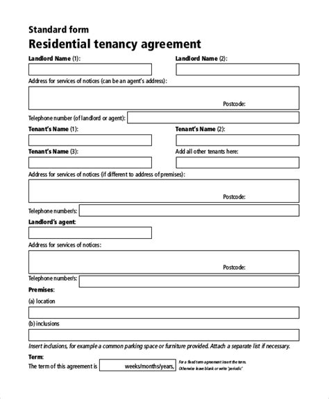 sample rental agreement contract  documents  word
