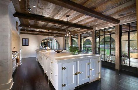 sloped kitchen ceiling  wood beams design ideas
