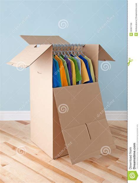 clothing wardrobe box wardrobe box with clothing ready for moving royalty free