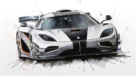 koenigsegg car drawing koenigsegg one 1 watercolour painting youtube