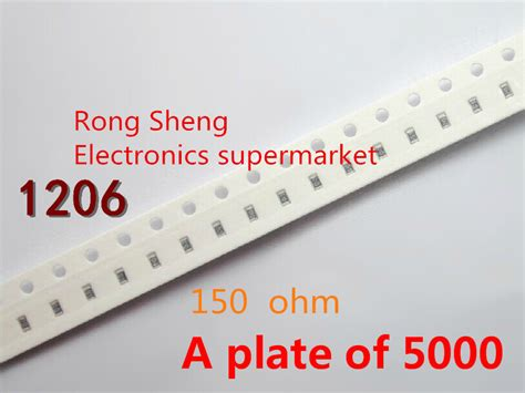 chip fixed resistor 1206 150 ohm 150r 1206 5 1 4w chip fixed resistor smd resistor a plate of 5000 free shipping in