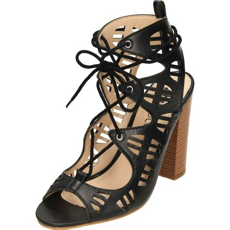 Lace Peep Toe Heel Sandals lace up block high heel peep toe cut out sandals shoes