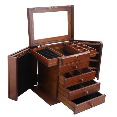 extra large wooden jewelry box armoire rings storage box