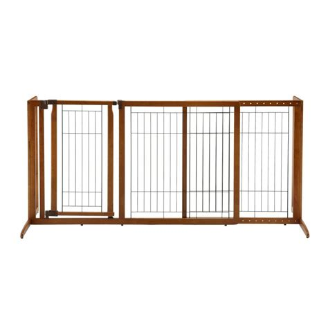 richell medium wood deluxe freestanding pet gate with door