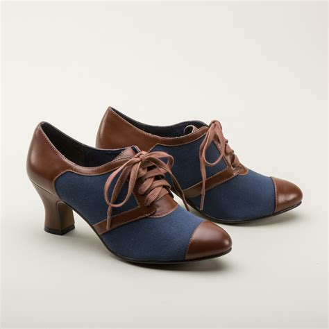 vintage shoes retro oxfords in navy brown by royal vintage