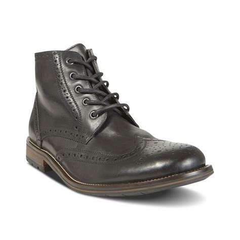 steve maddens boots steve madden evander2 wingtip boots in black for lyst