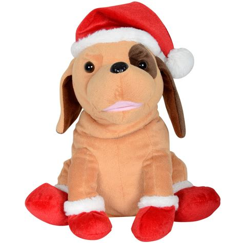 animated plush musical santa dog christmas decoration