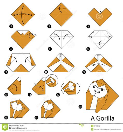 How To Make Origami Gorilla - step by step how to make origami a gorilla