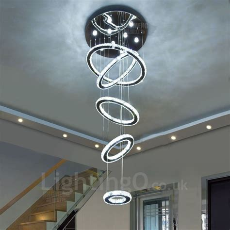 rustic drop down ceiling pendant light for over table or dimmable 5 rings modern led crystal ceiling pendant light