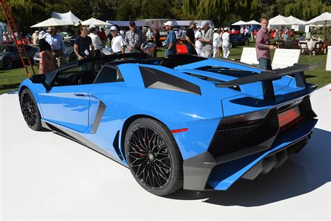 lamborghini aventador sv roadster blue blue lamborghini aventador sv roadster at the quail rear side view sssupersports
