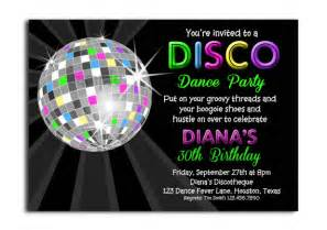 disco neon invitation printable or printed with free shipping personalized for your