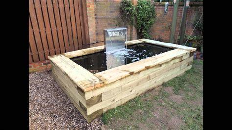 raised railway sleeper pond installed   jarvis son