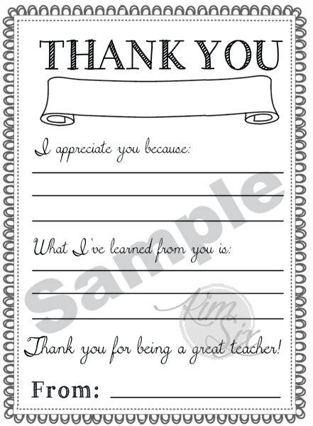 Teacher Appreciation Template Letter Teacher Appreciation Day Printable Thank You Notes The