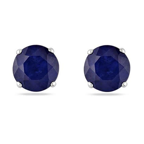 golden black sapphire 21 20ct blue sapphire ear pin stud earrings 14k white gold 1