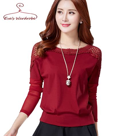 Witer Blouse By lace blouse new sleeve gauze 2016 autumn large size