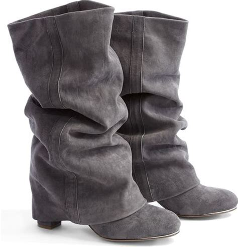see by chlo 233 suede fold heeled boots in gray grey