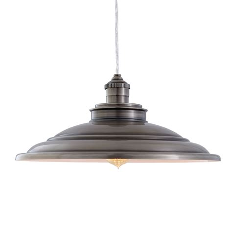 Allen And Roth Pendant Lighting Shop Allen Roth Hainsbrook 15 98 In Antique Pewter Rustic Single Dome Pendant At Lowes