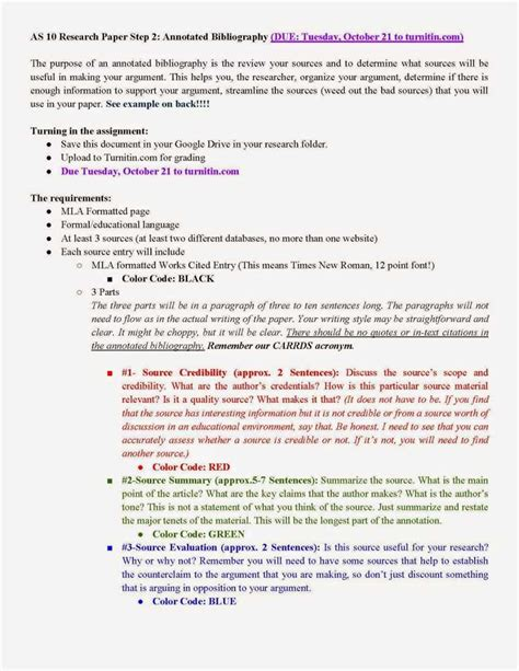 bibliography for a research paper due working annotated bibliography for research paper 10