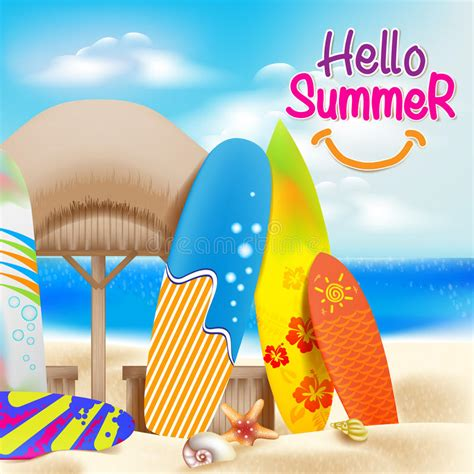 Pudding Hello Orange And Blue Theme hello summer colorful theme in the beside the seashore stock vector illustration of